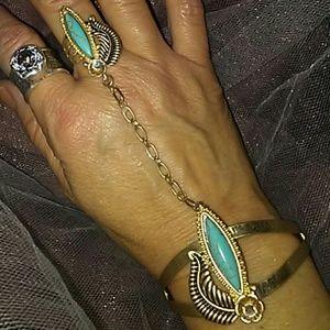 Goldtone & turquoise stone slave bracelet